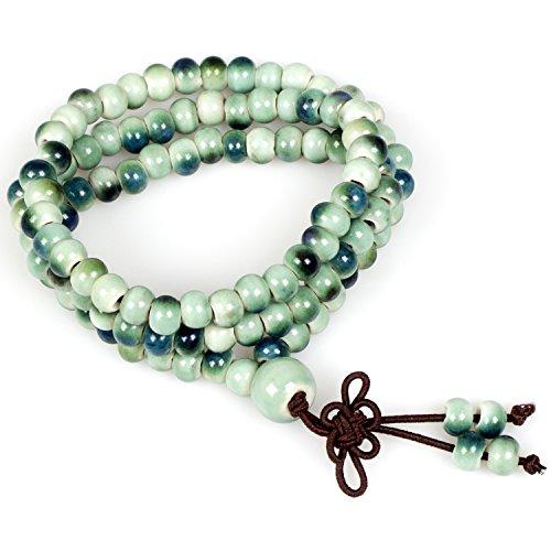 Jewelry,Handmade Emerald Green 108 Mala Prayer Beads Porcelain Elastic Tibetan Buddhist Bracelet Necklace(Emerald Green) Green Emerald Bead Necklace