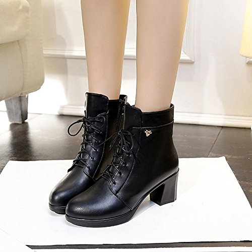 Comfort Toe Mid Chunky Winter Round Heel Outdoor Boots Shoes Boots HSXZ Calf Women's Null PU Black Black for ZHZNVX HRAyBXqc