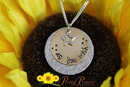 Stacked Presents - Handstamped Necklace - As You Wish Necklace - Disc Jewelry - Stamped Star Necklace - Stacked Disc Present - Custom Birthday Necklace