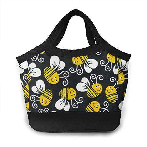 Lunchbox Carry Case Container for Women Men School Office, Leakproof Multi-Purpose Lunch Holder Premium Totebox Reusable Snack Bag, Bumblebee ()