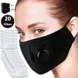 ZFRANC Activated Carbon Dust Mask, 2Pcs Adjustable Reusable N95 PM2.5 Protective Mask with 20 Filters for Dust Smoke Gas Allergy & Outdoor Activities