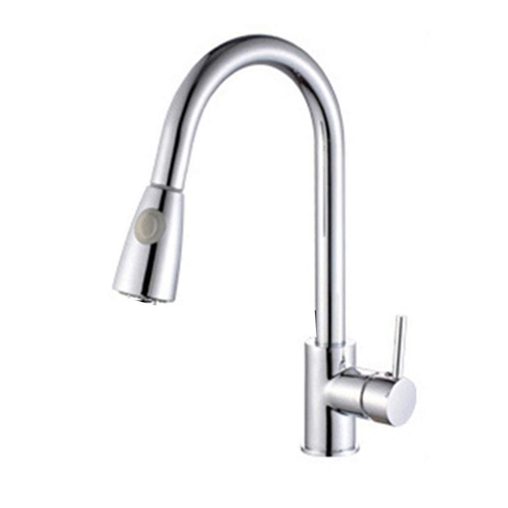 Kitchen Sink Faucets Faucet Black Pull-out Kitchen Faucet Hot And Cold Sink Splash Faucet (Color : Silver, Size : 4420cm)