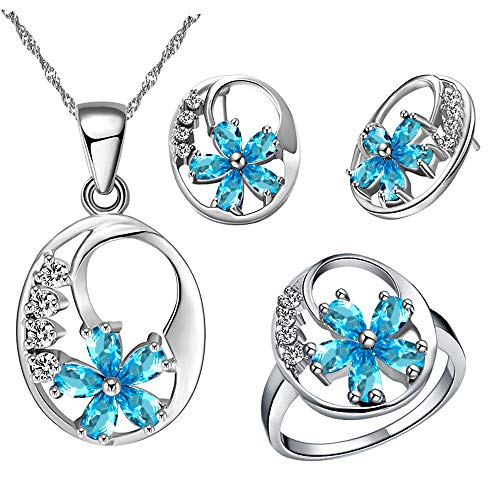 - Uloveido Womens Fashion Light Blue Cubic Zirconia Stone Birthstone Flower Studs Earrings and Necklace Pendant Rings Wedding Jewelry Set White Gold Plated for Girls T270