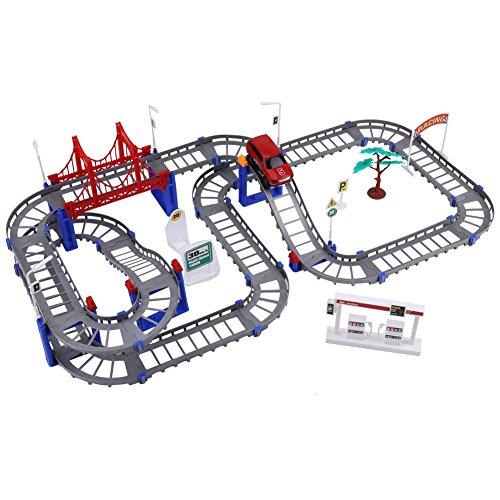 マルチトラックレール電動玩具車セット、サークルレールトラック玩具ホームゲーム誕生日ギフト子供子供DIYアセンブリ