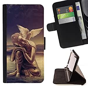 Momo Phone Case / Flip Funda de Cuero Case Cover - La paz de la mente de Buda Paloma - Samsung Galaxy A3