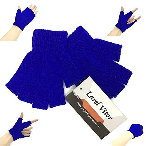Acrylic Fingerless Gloves - Fingerless Winter Gloves Knitted Fleece Lined Mittens Half Finger Knitted Magic Stretch Gloves Unisex Kids(Blue)