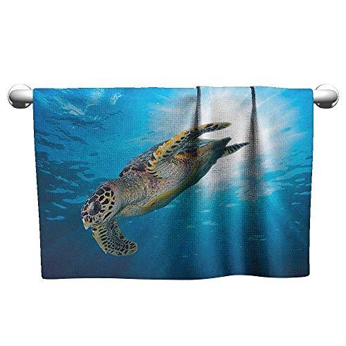 (Bensonsve Premium Turtle,Hawksbill Sea Turtle Dive Deep Into The Blue Ocean Against Sun Rays, Yellow Brown Aqua Blue,t Shirt Towel for Curly Hair)