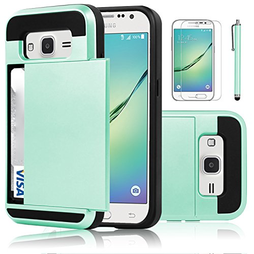Galaxy Core Prime Case, EC™ Galaxy Prevail LTE Case, Hybrid Dual Layer Shockproof Bumper Wallet Case Cover with Card Holder for Samsung Galaxy Core Prime / Prevail LTE G360 (Turquoise)