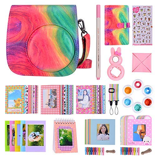 Bsuuy Instax Mini 9 Camera Accessories Bundles Compatible with FujiFilm Instax Mini 9 Mini 8 Mini 8+ Camera with Mini 9 Case, Six Color Filters,Rainbow Shoulder Strap etc.(Oil Paint 14Items)