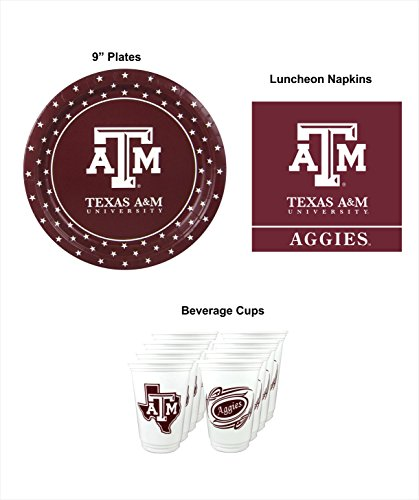 - Westrick Texas A&M Aggies Party Supplies for 16 Guests - 48 Pieces