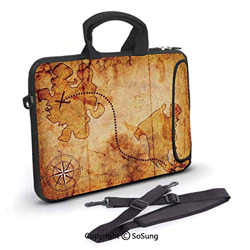 13 inch Laptop Case,Bohemian Style Treasure Hunt Map with Small Compass Paint on It Manuscript Atlas Finding Neoprene Laptop Shoulder Bag Sleeve Case with Handle and Carrying & External Side ()