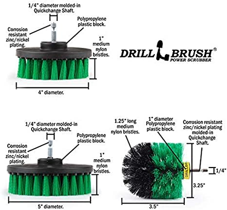 Cleaning Supplies The Ultimate Kitchen Drill Brush Attachment Kit Trash Can Backsplash Cooktop Oven Countertops Sink Cast Iron Skillet Kitchen Accessories Crock Pot Flooring