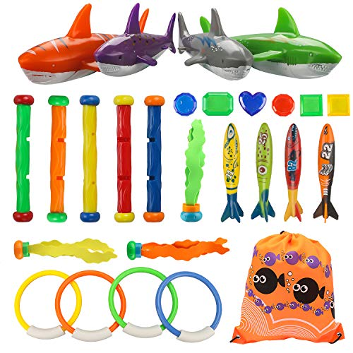 Shark Ball - INVOKER 26 Pcs Pool Diving Toys Underwater Sinking Diving Rings, Sticks, Sharks, Toypedo Bandits, Aquatic Balls and Under Water Treasures with Portable Storage Bag Swimming Training Game Set
