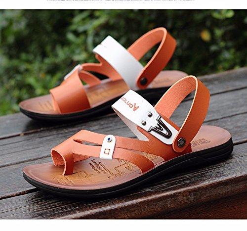 estate Il nuovo gioventù pelle sandali Uomini infradito scarpa Antiscivolo estate tendenza Scarpe da spiaggia sandali ,Marrone,US=9?UK=8.5,EU=42 2/3?CN=44