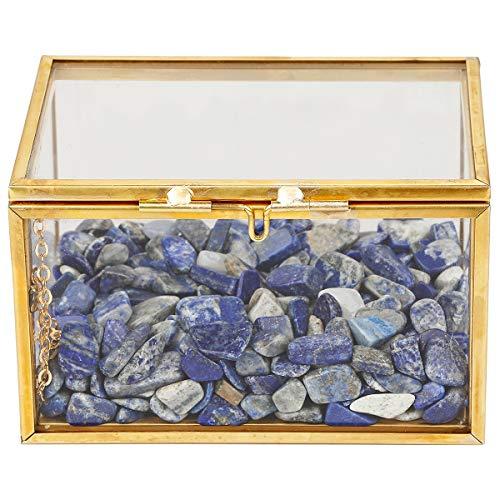 rockcloud Lapis Lazuli Healing Crystal Terrarium Container Desktop Planter for Succulent Air Plants Holder Fairy Garden Home Decor