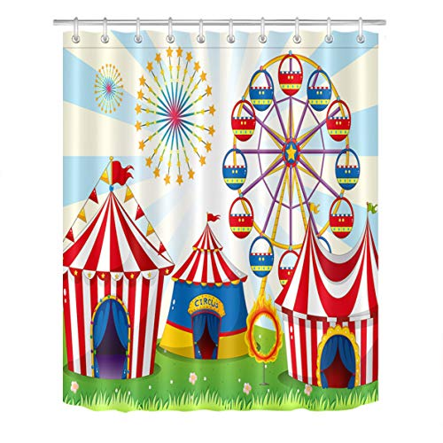 LB Circus Carnival Party Shower Curtain Set Polyester Fabric Bath Curtain Ferris Wheel for Kids 60x72 inch Bathroom Curtains with Hooks Anti Bacterial Waterproof -