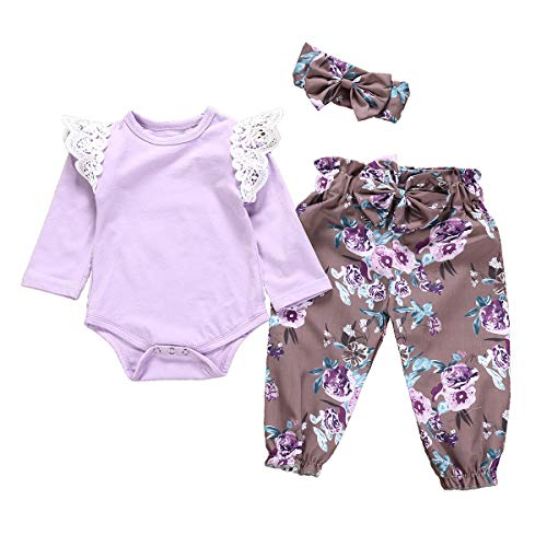 Toddler Baby Girls Fall Outfit Long Sleeve Ruffle Shirts+Floral Pants+Headband Clothes (Purple, 0-6 Months) ()