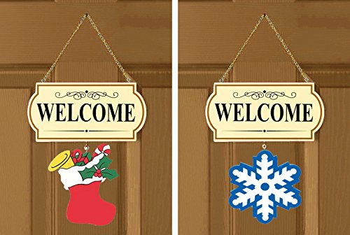 Welcome Sign 10 Pieces Set Interchangable Door Hanging Festive Whimsical Decor - 11 1/2