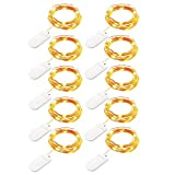 H+K+L LED String Lights with Battery Control, 10Pcs 10LED Decorative Lights, Starry String Copper Wire Lights for Party, Wedding, Holiday, Christmas, Valentine's Day (Yellow)