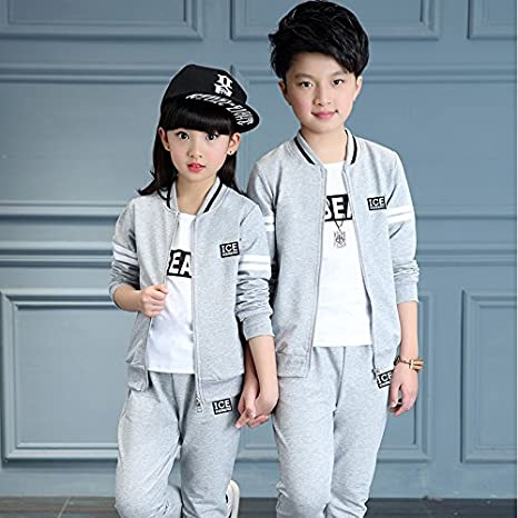 MV Girls Autumn Korean Three-Piece Childrens Female Childrens Sportswear Suit