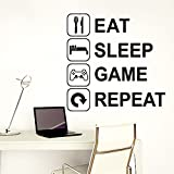 Gaddrt Removable Wall Sticker Eat Sleep Game Repeat Removable Art Vinyl Mural Home Room Decor Wall Stickers (EE)