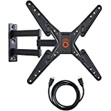 """ECHOGEAR Full Motion Articulating TV Wall Mount Bracket for most 26-50 inch LED, LCD, OLED and Plasma Flat Screen TVs w/ VESA patterns up to 400 x 400 - 20"""" Extension - Includes 6' HDMI Cable - EGMF1-BK"""