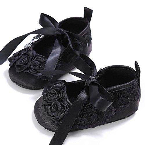 Saingace Kleinkind Mädchen Krippe Schuhe Neugeborene Blume Soft Sohle Anti-Rutsch Baby Sneakers Schwarz