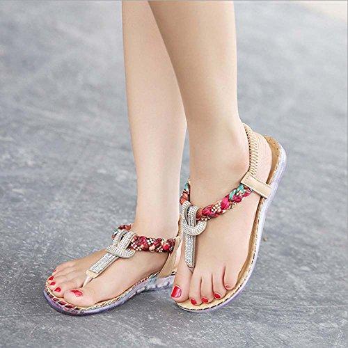 Boho 5 UK9 Round Size Folk Rhinestone Women's Black Sandals Post Shoes Beige EU43 Flat Toe Amazing Color Thong CN45 Bead Summer Strap Elastic Beach Clip Bohemia T Sxgxv0qw