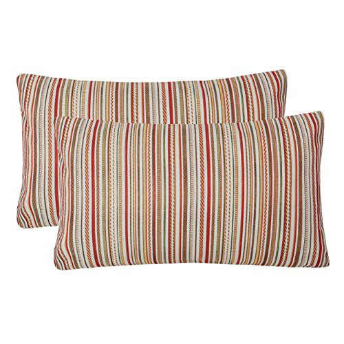 Pack of 2 Simpledecor Throw Pillow Covers Couch Pillow Shells,12X20 Inches,Jacquard Colorful Stripes,Multicolor Red