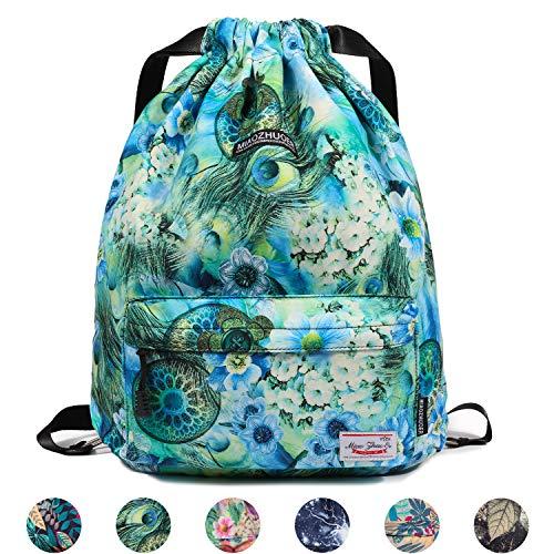 Nylon Cinch (Drawstring Backpack String Bag Sackpack Cinch Water Resistant Nylon for Gym Shopping Sport Yoga by WANDF (Green Flower 6032))