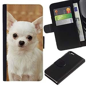 eJoy---La carpeta del tirón la caja de cuero de alta calidad de la PU Caso protector - Apple iPhone 6 - --Happy White Chihuahua Dog Small