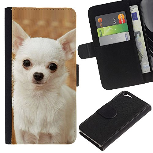 LASTONE PHONE CASE / Luxe Cuir Portefeuille Housse Fente pour Carte Coque Flip Étui de Protection pour Apple Iphone 6 4.7 / Happy White Chihuahua Dog Small
