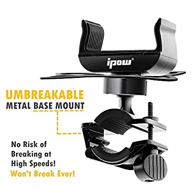 Bike Mount, Ipow Universal Cell Phone Bicycle Rack Handlebar & Motorcycle Holder Cradle for iPhone 6 6(+) 6S 6S plus 5S 5C, Samsung Galaxy S3 S4 S5 S6 S7 Note 3/4/5,Nexus,HTC,LG,BlackBerry,Black by IPOW
