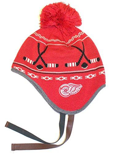 NHL Licensed Detroit Red Wings Dog Ear Knit Pom Beanie Hat Cap Lid Skull Dog Ear Cap