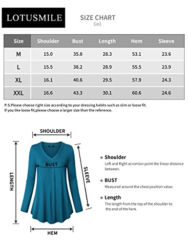Lotusmile Casual Long Sleeve Tops for Women,Floral Print Pleated V Neck Plus Size 3/4 Cuff Sleeve Causal Blouse Tops for Work Tunic Shirt,Light Blue L by Lotusmile (Image #6)