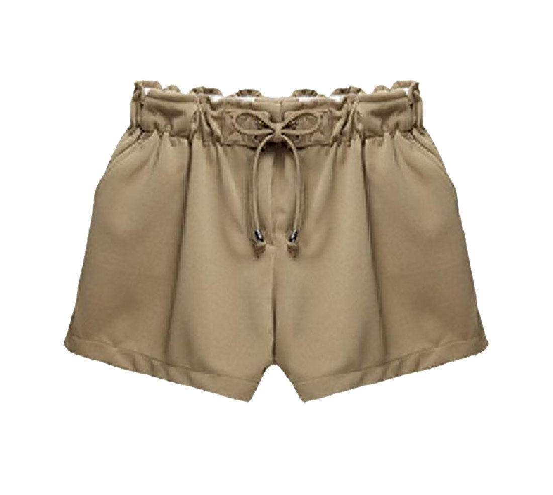 Doufine Women's Breathable Plus Size All-Match Baggy Solid Color Hot Pants Midi Shorts Camel 4XL