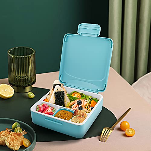 Victarvos Lunch Box with Cutlery & Sauce Pot, Leakproof Bento Box with Removable Compartments, Large Lunchbox for Kid and Adult, BPA Free, Microwave & Dishwasher Safe, Blue