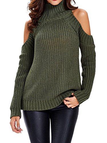 Choies Women's Green High Neck Cold Shoulder Long Sleeve Sweater Pullover (Cold Shoulder Turtleneck)