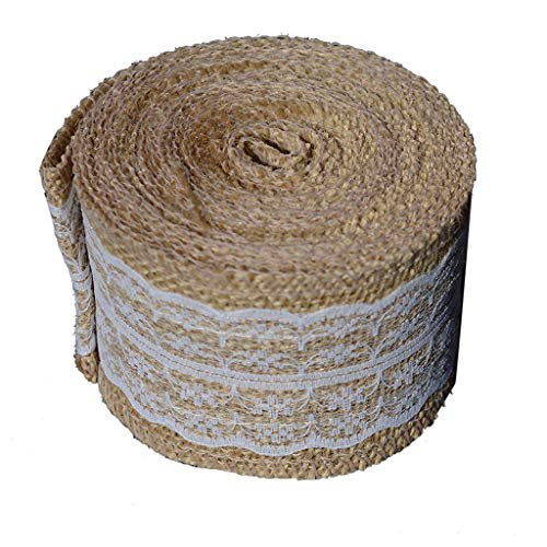 SANGNI 1Roll Burlap Hessian Jute Ribbon,Rustic Farmhouse Style Natural Wedding Strap Decor Outdoor Wedding Engagement Parties, Christmas, Birthday, Restaurants, Caters,Festival,Celebration -