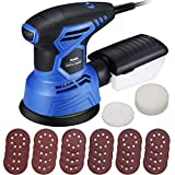 TOPELEK Random Orbit Sander, 7 Variable Speed 13000RPM Electric Sander Machine, 2.5A 5-Inch Hook and Loop Orbital Sander with 24Pcs Sandpapers and 2Pcs Polishing Pad, High-Efficient Dust Collection System for DIY