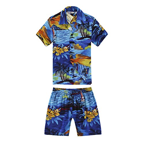 Boy Hawaiian Shirt and Shorts 2 Piece Rayon