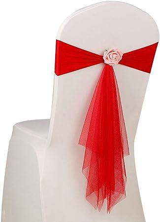 Pinji Lot de 10pcs Nœuds Chaise Mariage avec Rose Décoratifs Ruban Bande Housse de Chaise pour Banquet Fête Hôtel Rouge