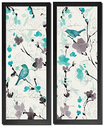 Gango Home Décor Beautiful Teal and Gray Watercolor-Style Floral and Bird Print Set by Pela; Two Framed 8x18in Prints; Ready to Hang!