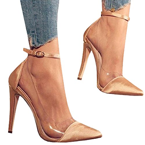 Womens Ankle Strap Stilettos Thin High Heels Pointed Toe Clear Work Pumps Sandals Beige