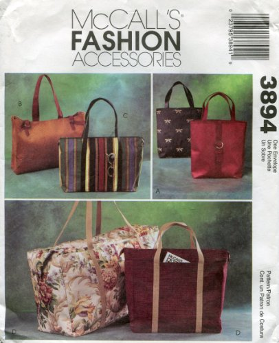 McCall's Fashion Accessories Pattern 3894 ~ Lined Tote - Fashion Accessories Mccalls
