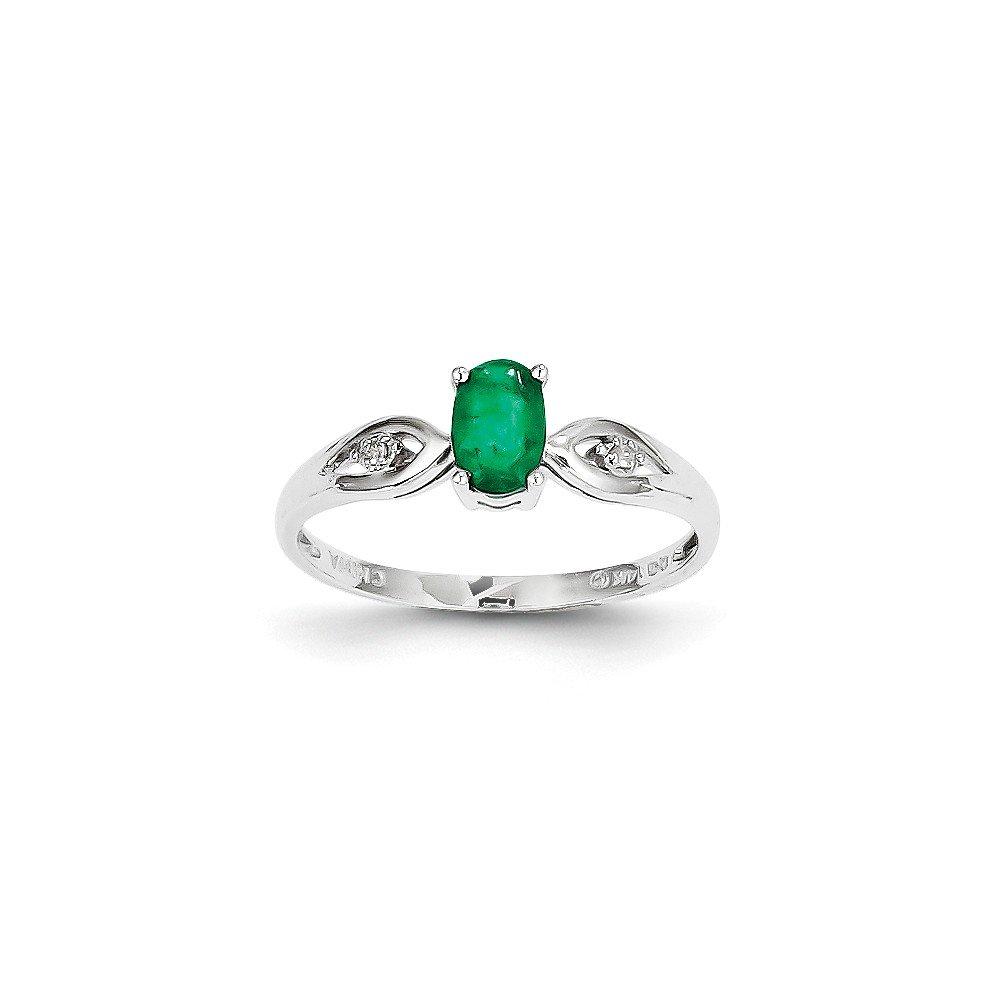 Jewelry Adviser Rings 14k White Gold Emerald Diamond Ring
