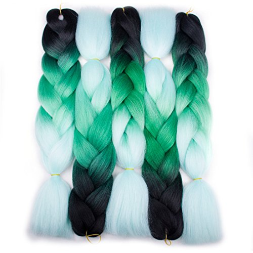 Forevery Braiding Hair Synthetic Kanekalon Ombre Hair Braiding Extensions 5Pcs High Temperature Fiber Crochet Twist Jumbo Braids Black to Green to Light Green (24