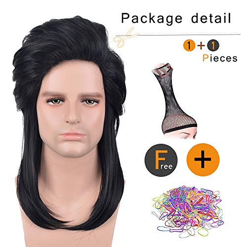 SiYi 70's 80s Disco Halloween wigs for old men Black punk mullet wig Musician Cosplay Wig(3618)