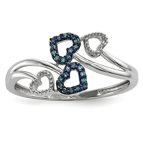 ICE CARATS 925 Sterling Silver Blue Diamond Multi Heart Band Ring Size 7.00 S/love Fine Jewelry Gift For Women Heart by ICE CARATS