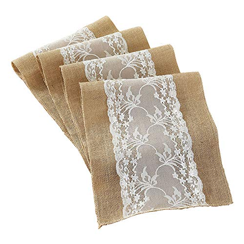 DegGod 12X108 Inches Burlap Lace Hessian Table Runner Natural Jute Rustic Tablecloth for Country Wedding Party Kitchen Dining Room Farmhouse Decoration (1 Pack)